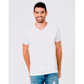 Camiseta Tipo Gef / Punto Blanco Polialgodón, Cuello V