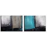 2 Quadros Abstratos Pintura Tela De 1 X 1,40 Metro Cada