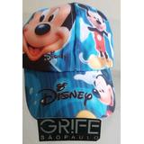 Boné Infantil Mickey Mouse Azul E Colorido Chapeu Crianças