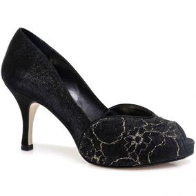Sapato Laura Porto Peep Toe Renda   Zariff
