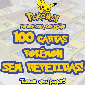 100 Cartas Pokemon/sem Repetidas + 10 Cartas Raras Originais
