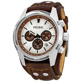 Relogio Masculino Fossil Cuff Ch2565 Chronograph Tan Leather