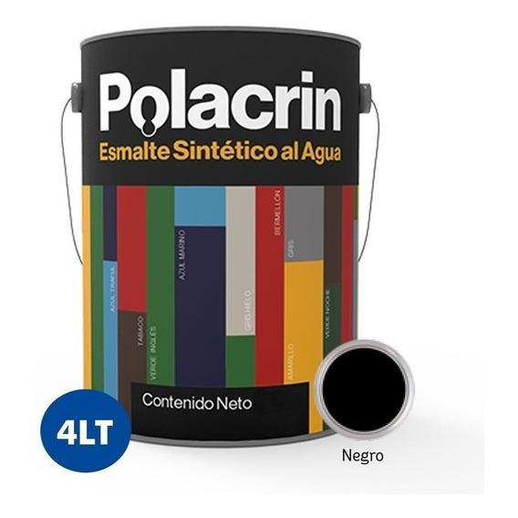Esmalte Negro Sintetico Al Agua Brillante X 4 Lts Polacrin