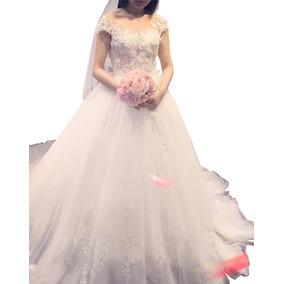 Vestido De Noiva Bordado Princesa Com Saiote, Veu Luva 9026