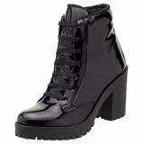 Bota Cano Curto Feminina Ankle Boot Salto Alto Verniz - 030