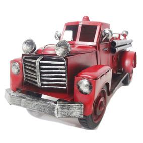 Caminhão Bombeiro Vintage Retro 12,5cm Ferro Fundido