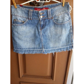 Saia Jeans Mini Desbotado Barra Marcada Desfiada Pp 36 Usada