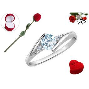 Anillo Compromiso Plata Oro Blanco 18k Y Bello Diamante Azul