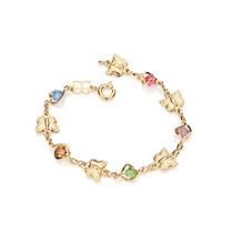 Pulseira Infantil Com Pedras Coloridas Ouro Rommanel 550849
