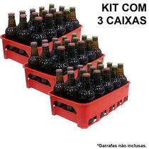 Kit 3 Caixas Engradado Cerveja 300ml P/ 15 Garrafas Vermelha