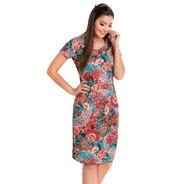 Vestido Midi Tubinho Moda Evangélica Justo Blogueira Florido