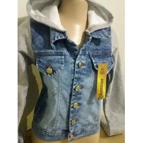 4 Jaquetas Jeans Manga Moleton Com Capuz