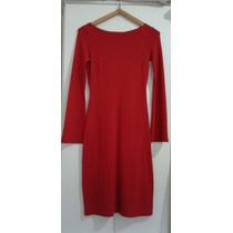 Vestido Evasé Escote Bote Color Rojo Talle S