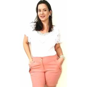 Shorts Bermuda Feminina Social Plus Size Cintura Alta Barato