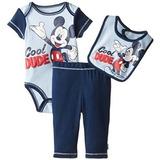 Disney Baby-niños Mickey Mouse Tres Piezas Mono Del Babero Y