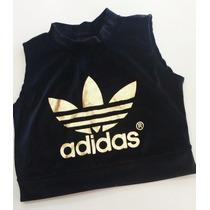 Cropped Adidas Blusa Feminina Regata Lançamento Preto Promo
