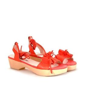 Sandalias De Cuero Coral De Mujer Batistella