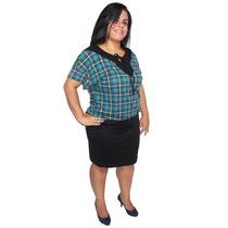 Blusinha Blusa Feminina Plus Size Estampada Com Vies Em Visc