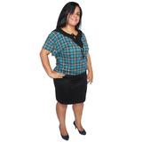 Blusa Feminina Plus Size Estampada Com Vies Em Visc