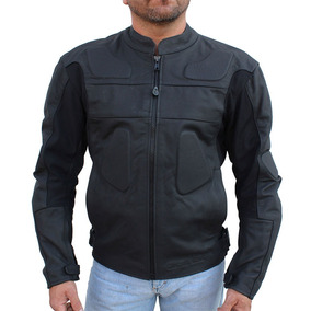 Chamarra Motociclista De Piel Negro Matte, Con Protecciones