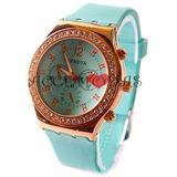Reloj Geneva Para Dama Con Brillante Al Mayor Y Detal