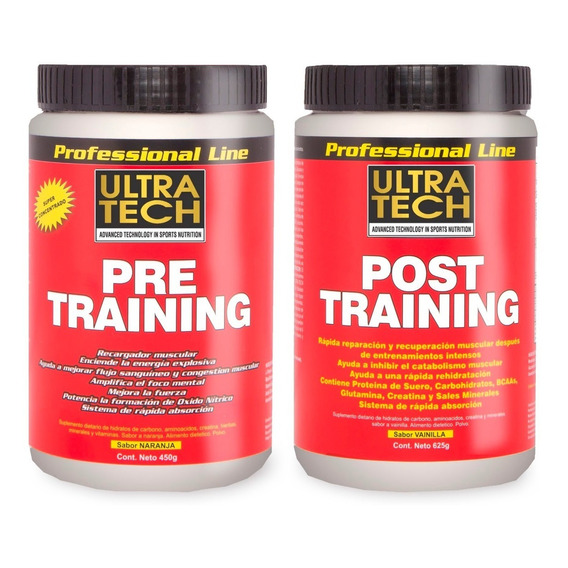 Pre Entreno + Post Entreno  Ultra Tech Pre Training X 450 G Post Training 625 G Masa Muscular Energía Recuperación