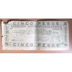 Billete $5 Pesos Ejercito Constitucionalista Morelia 1914