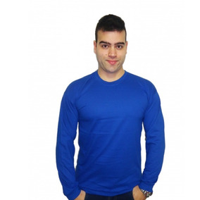 Camiseta Basica Masculina Manga Longa 100% Algodão