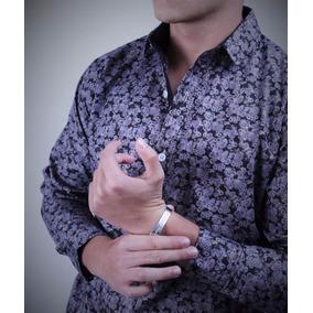 Camisa Slim Fit Para Caballero Color Gris - Peaceful
