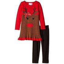 Conjunto De Navidad Reno Leggings De Niña Talla 4