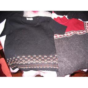 2 Pulloveres Sweaters Cuello Redondo Chaleco Mc Remera Lana
