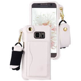 Galaxy S7 Caseclong Galaxy S7 Case Pu Leather+lanya -blanco