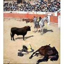 Lienzo Tela Toros Caballos Muertos Ramón Casas 56 X 50 Cm