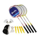 Set Badminton 4 Raquetas + 2 Plumillas + Red + Soporte
