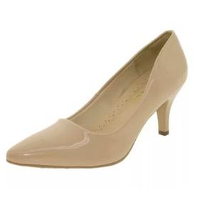 Sapato Feminino Scarpin Salto Médio Areia Facinelle