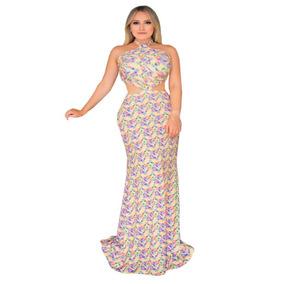 Vestido Estampado Longo Com Recortes Roupas Femininas