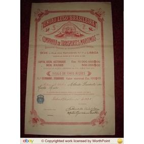 Rc0977 Apólice União Luso Brasileira (gigantesca) 1920 Rara