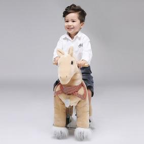 Caballo Pony Montable Ruedas Camina Dorado Edad 3-5