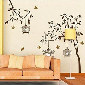 Vinilos Decorativos Del Árbol De Brown Birds Birdcages Inic