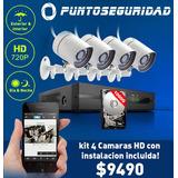 Kit 4 Camaras Seguridad + Instalacion Incluida!