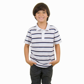 Camisa Polo Infantil Branca Listrada Colombo Kids