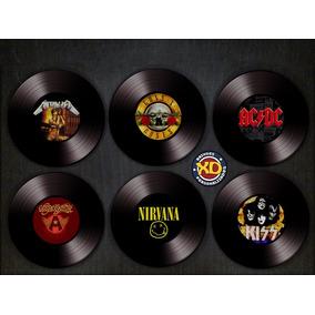 Kit C/ 6 Porta-copos Emborrachados Maiores Bandas Rock
