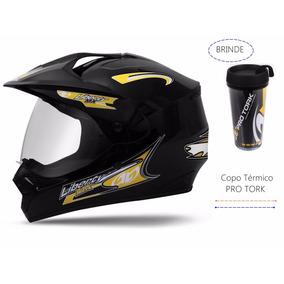 Capacete Moto Cross Liberty Mx Pro Vision Com Vizeira Preto