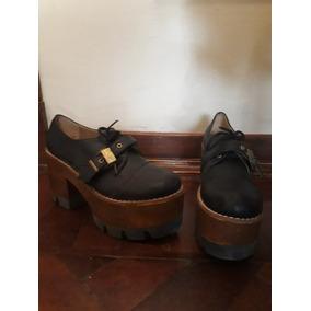 Zapatos Negros Mujer (taco Estilo Madera)