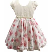 Vestido Infantil Daminha Florista Rosa Luxo 4 Ao 16 E Tiara