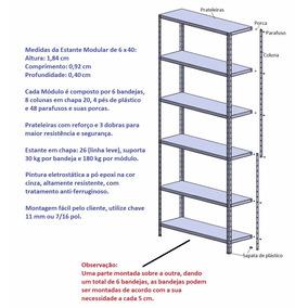 Estante De Aço Modular Com 6 Bandejas De 0,40 X 0,92 Cm
