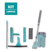Kit Mop Flat Mopi Rodo Limpa Vidro Esfregão Limpeza Promoção