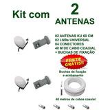 Kit 2 Antena Banda Ku Lnb + 40 Mts De Cabo Completa