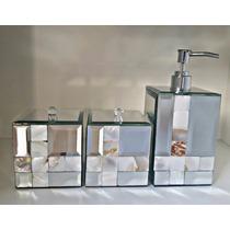 Porta Sabonete Liquido Espelho Bisotê E Madrepérola