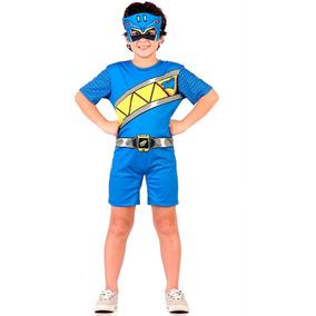 Fantasia Power Rangers Dino S Charge Azul Infantil C/máscara